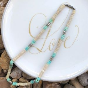 Vintage Cream and Teal Puka Shell Necklace